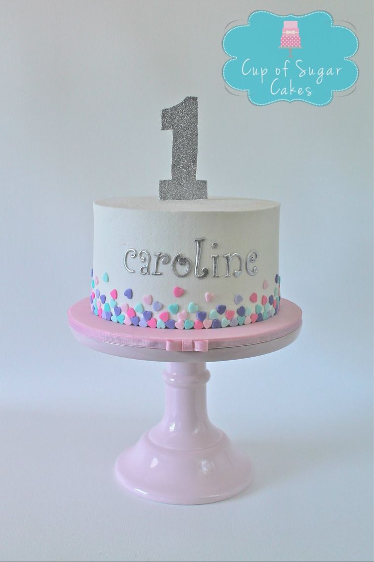 Girls First Birthday Cake First Birthday Cake For A Girl Buttercream With Fondant Hearts Cup