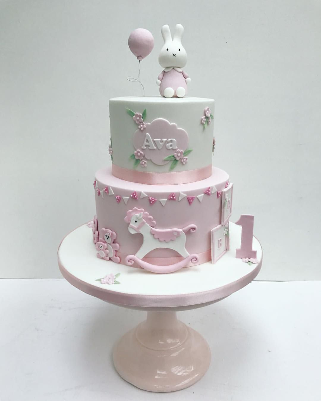 Girls First Birthday Cake Miffy Pink Bunny Cake For Little Girls First Birthday Sweet