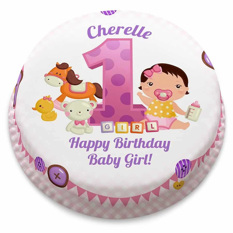 Girls First Birthday Cake Personalised Pink First Birthday Girl Cake From 1499