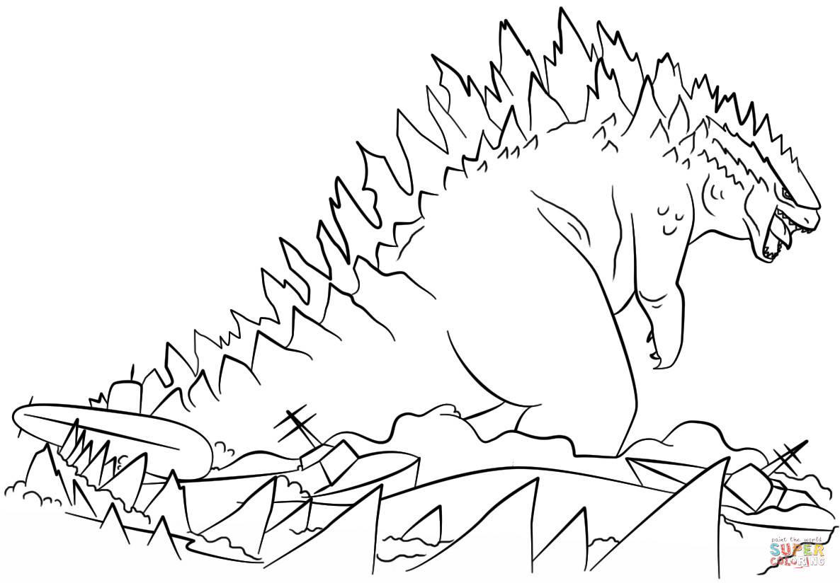 Godzilla Coloring Pages Godzilla Coloring Pages With Godzilla Coloring Pages Coloringsuite
