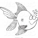 Goldfish Coloring Page Vector Of A Cartoon Goldfish With Bubbles Outlined Coloring Page