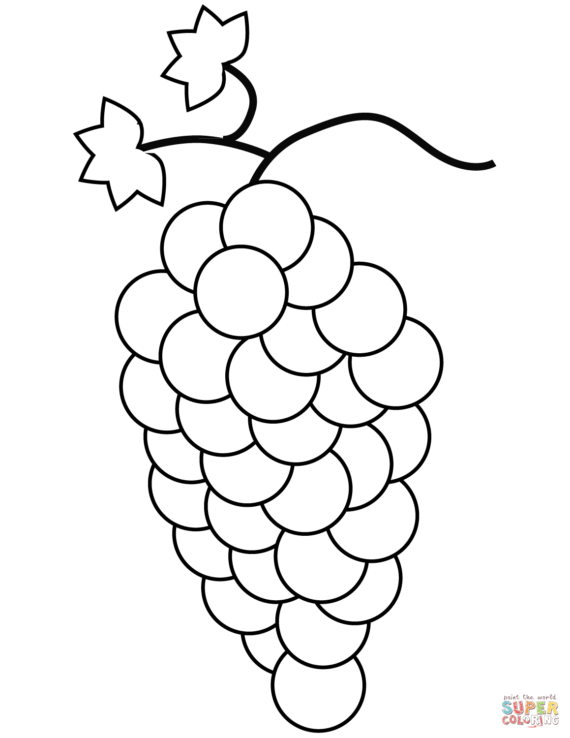 Pretty Photo of Grapes Coloring Page