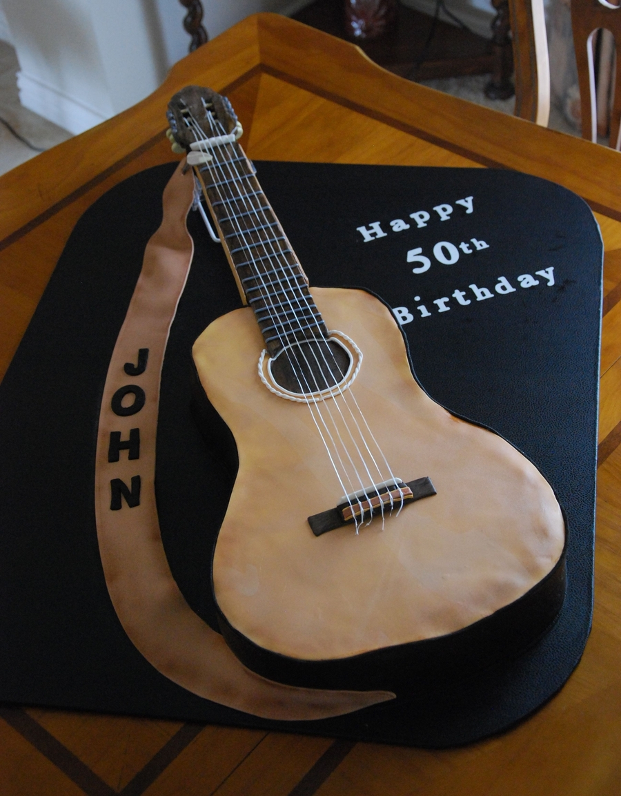 Guitar Birthday Cake Acoustic Guitar 50th Birthday Cake Cakecentral