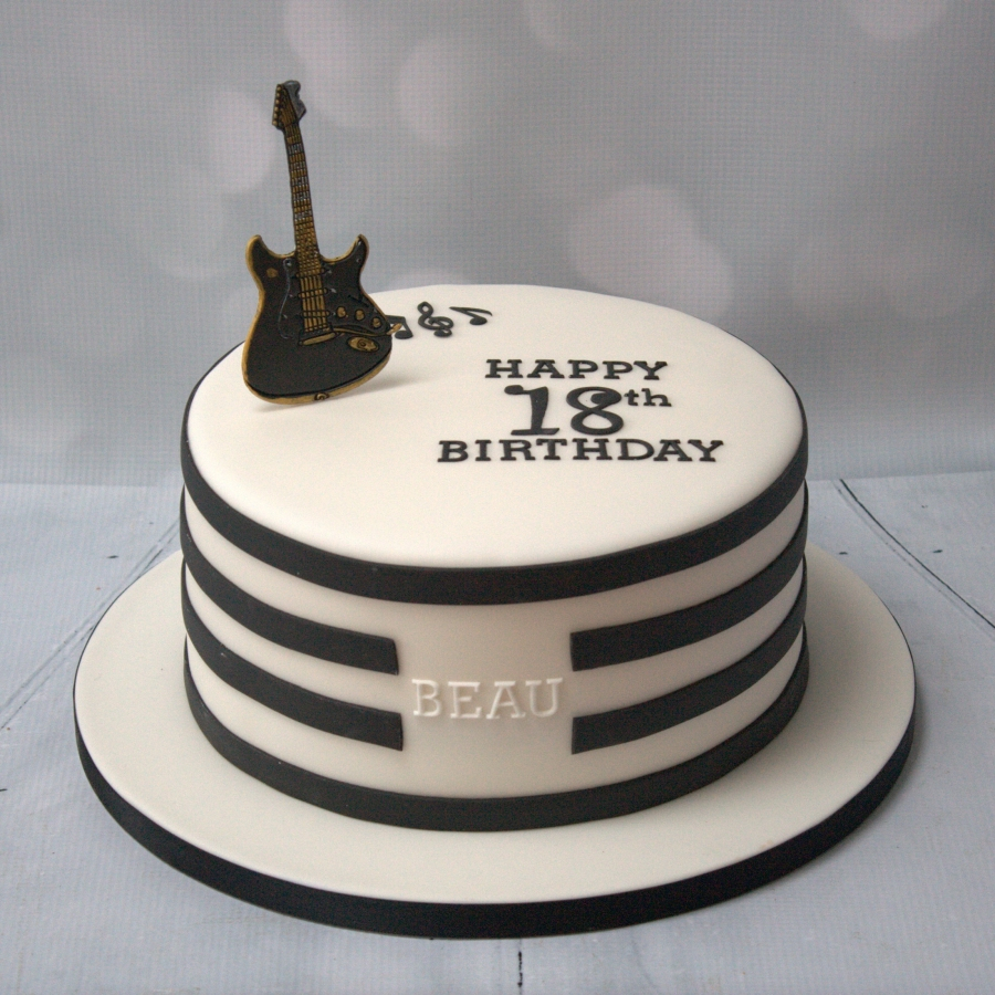 Guitar Birthday Cake Black White Guitar Cake