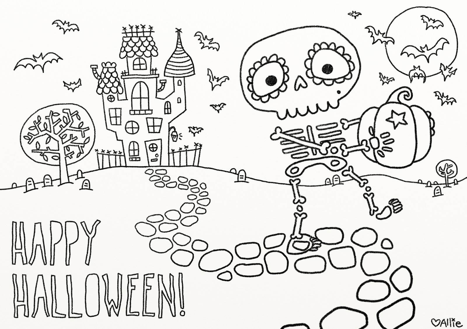 30+ Beautiful Picture of Halloween Coloring Pages Printable