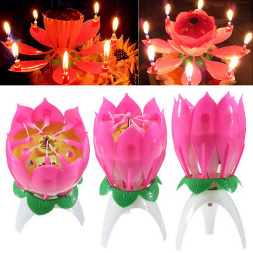 Happy Birthday Cake And Flowers Images Brief Romantic Musical Candle Lotus Flower Party Gift Art Happy