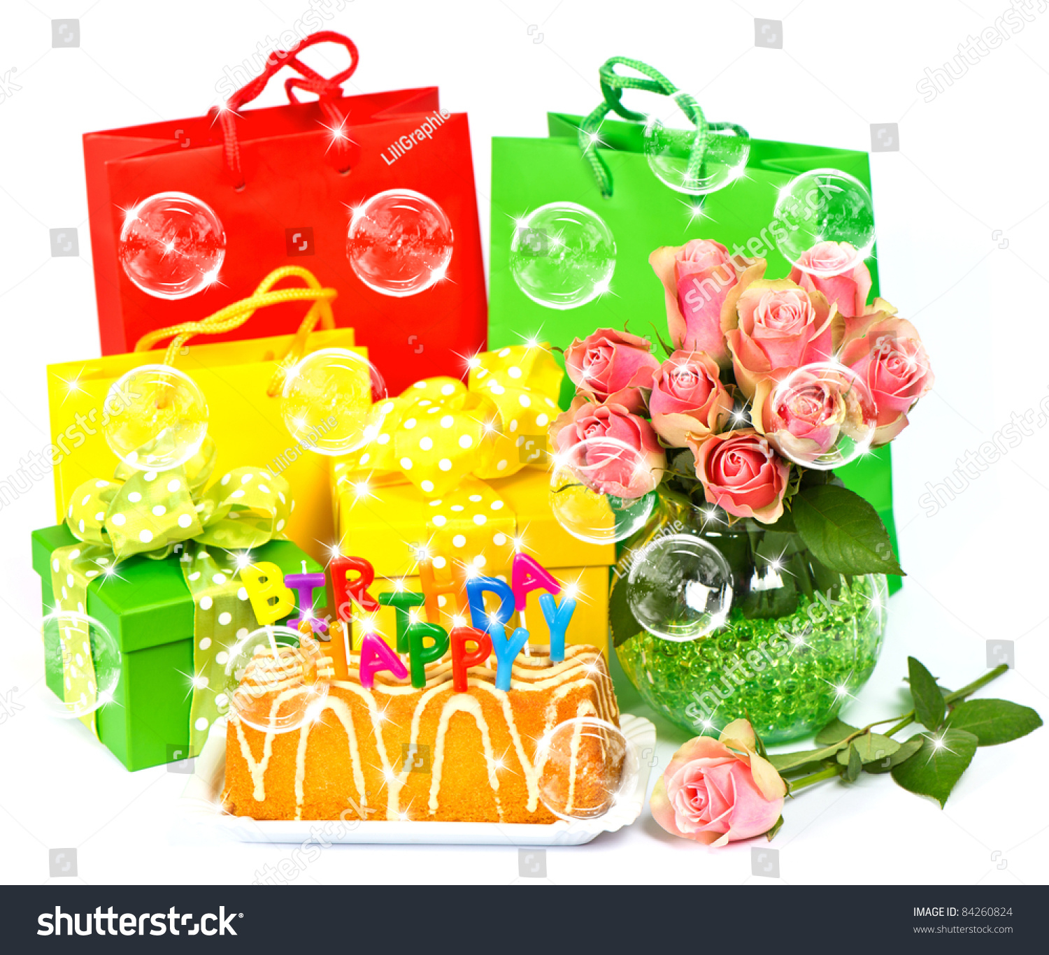 Happy Birthday Cake And Flowers Images Candles Gifts Stock Photo Edit Now