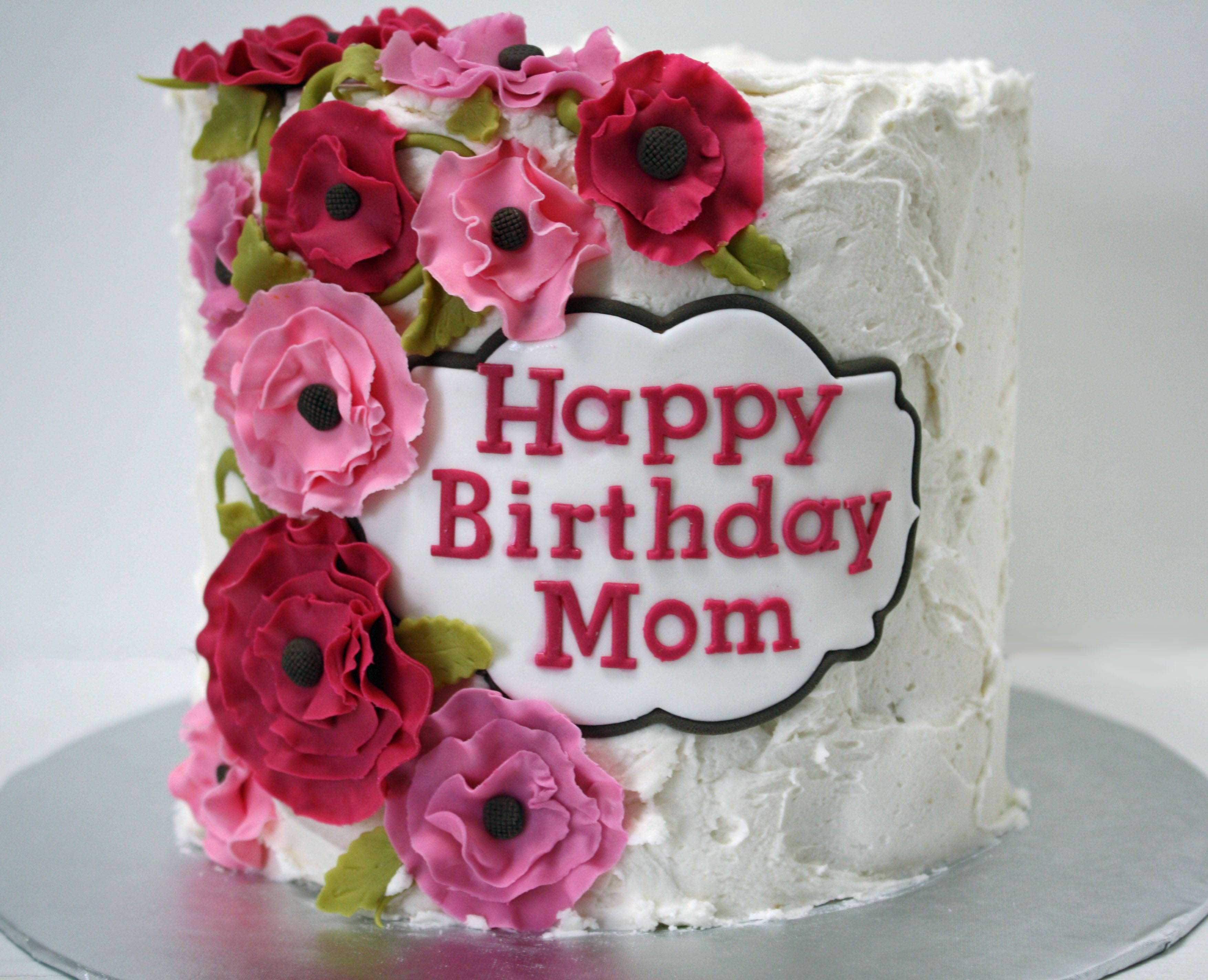 Happy Birthday Cake And Flowers Images Happy Birthday Mom Cake With Pink Flowers Frosted Bake Shop