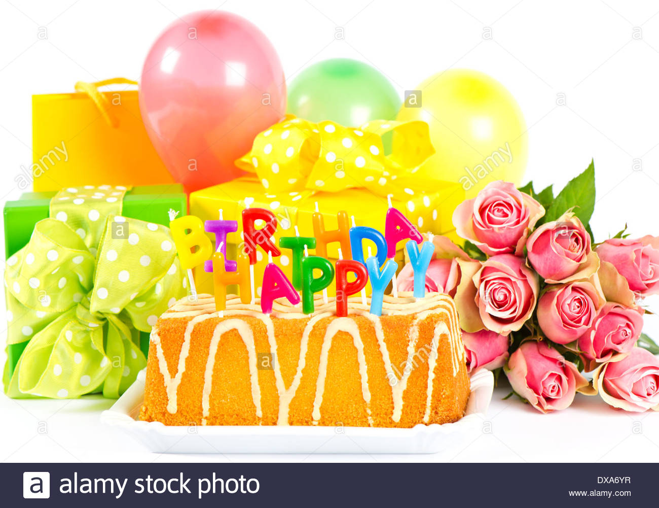 Happy Birthday Cake And Flowers Images Happy Birthday Party Decoration With Roses Flowers Cake Balloons