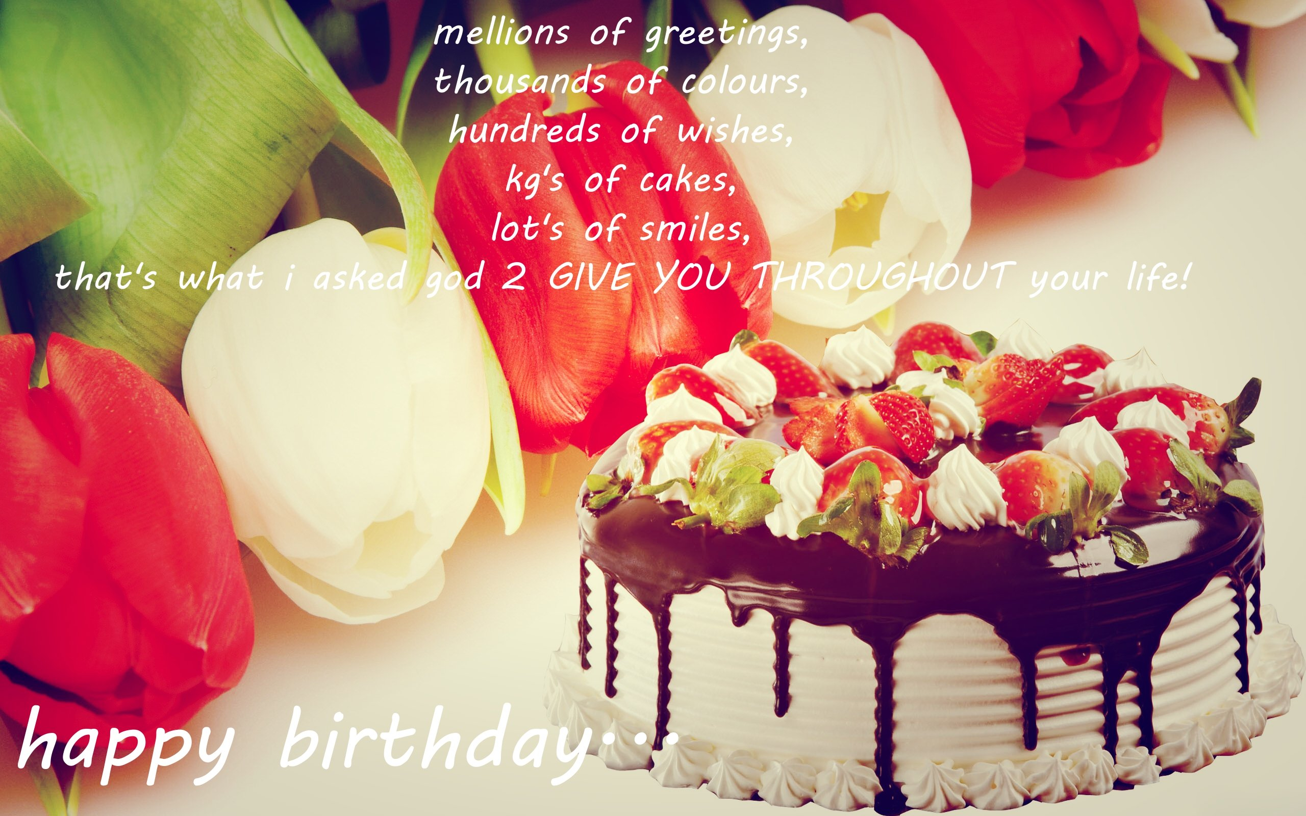 2560 X 1600 In 34 Great Photo Of Happy Birthday Cake And Flowers Images
