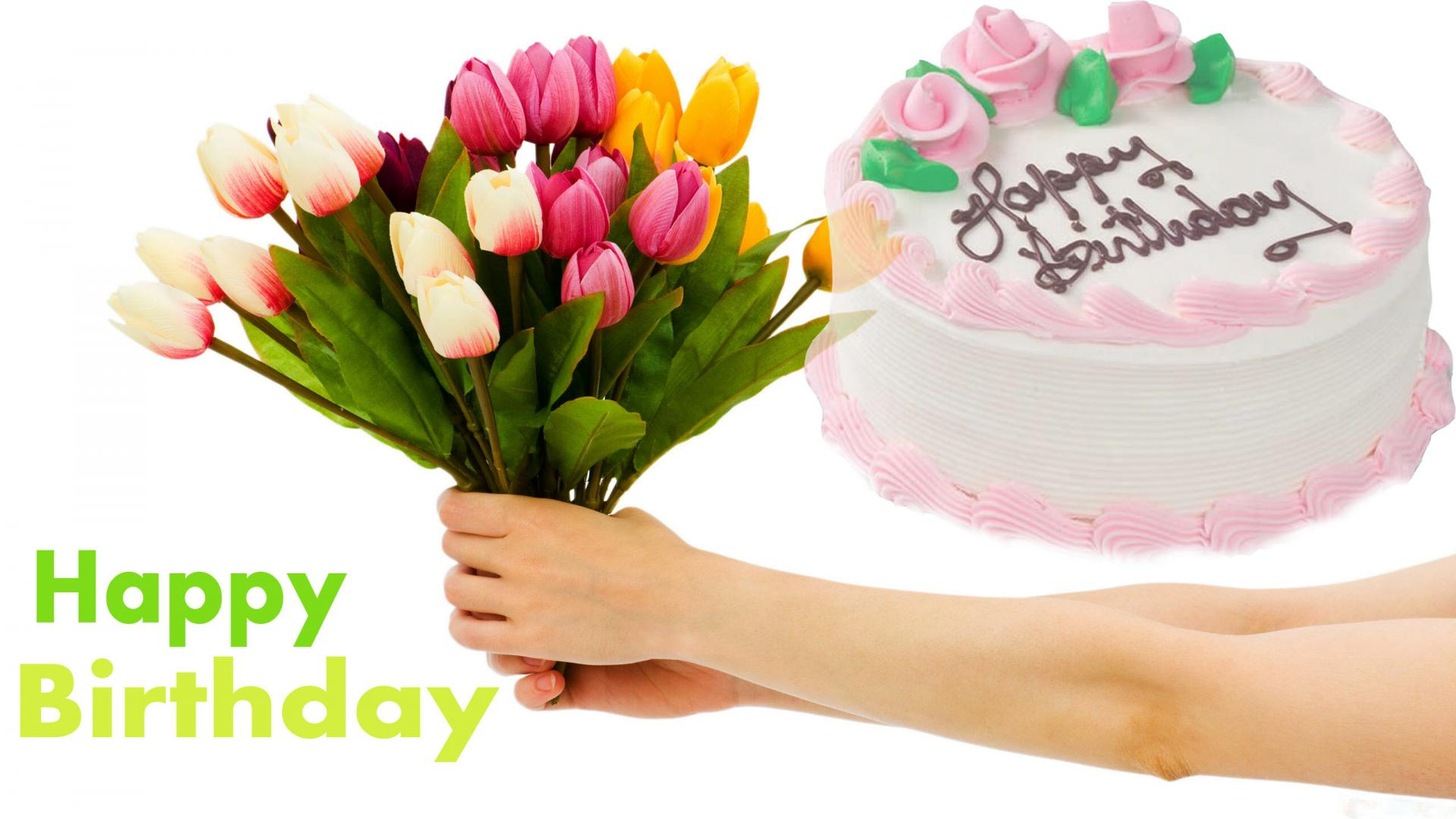 1080 In 34 Great Photo Of Happy Birthday Cake And Flowers Images