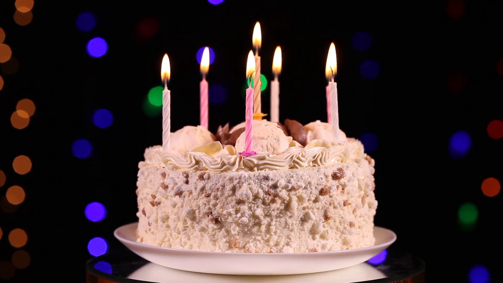 Happy Birthday Cake Pictures Happy Birthday Cake With Burning Candles In Front Of Black