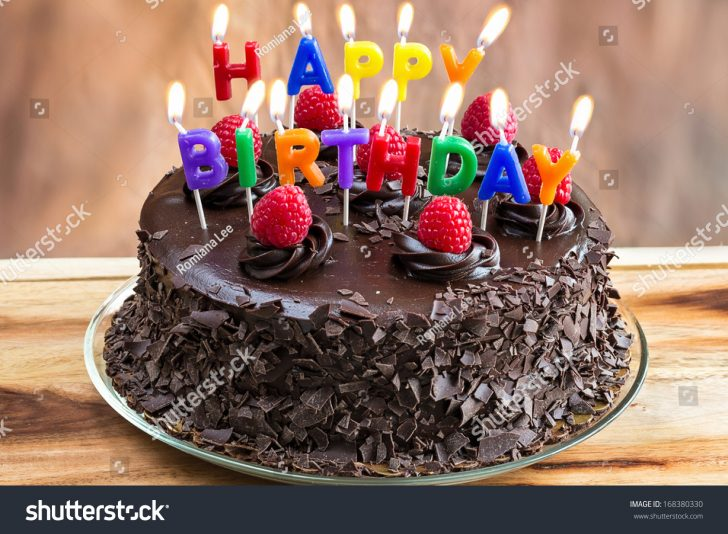 Happy Birthday Cake Pictures Happy Birthday Candles On Chocolate Cake Stock Photo Edit Now