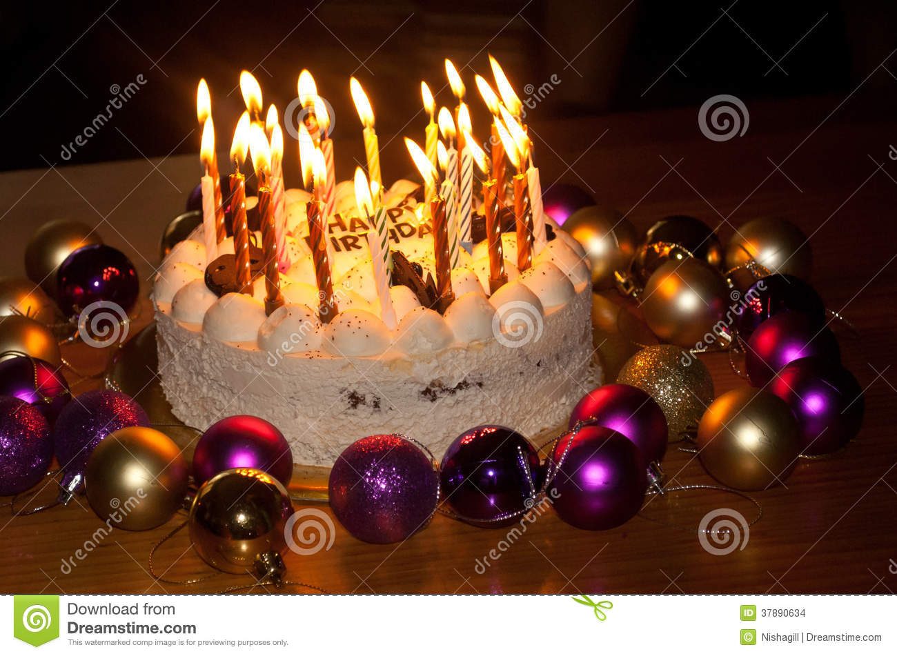 Happy Birthday Cake With Candles Birthday Cake With Burning Candles Stock Photo Image Of Party