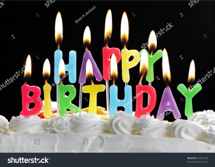 Happy Birthday Cake With Candles Colorful Happy Birthday Candles Burning On Stock Photo Edit Now