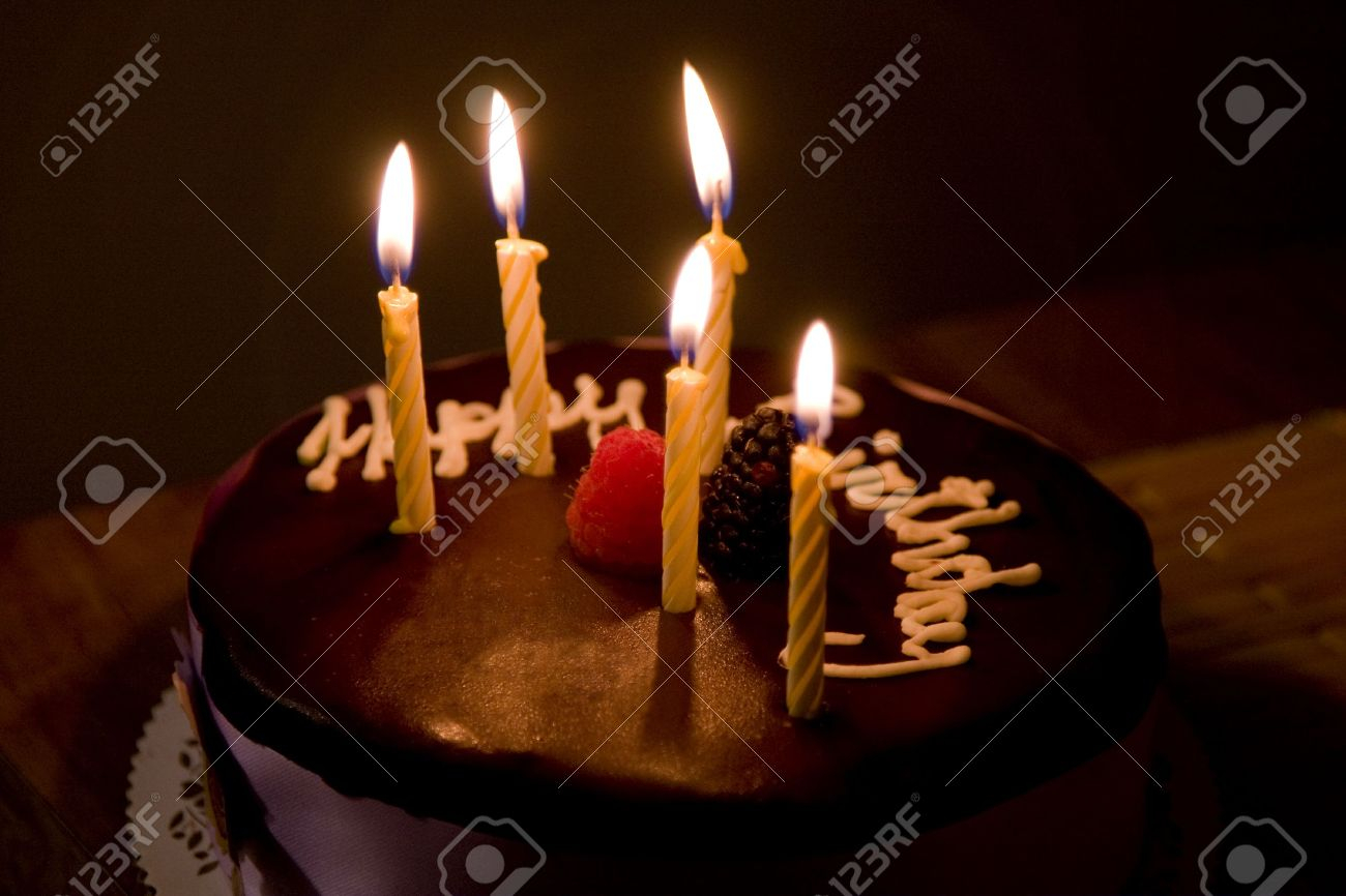 Happy Birthday Cake With Candles Happy Birthday Cake With Burning Candles Stock Photo Picture And
