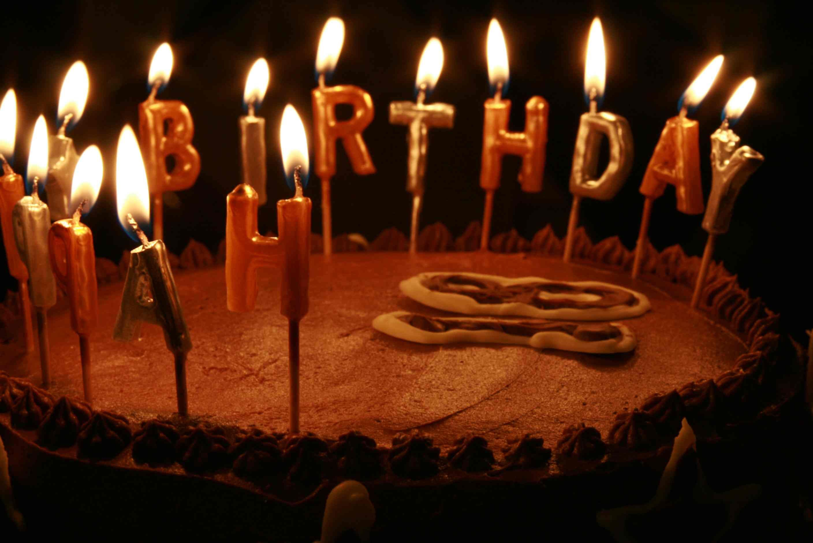 Happy Birthday Cake With Candles Happy Birthday Chocolate Cakes With Candles Hd Wallpaper Full