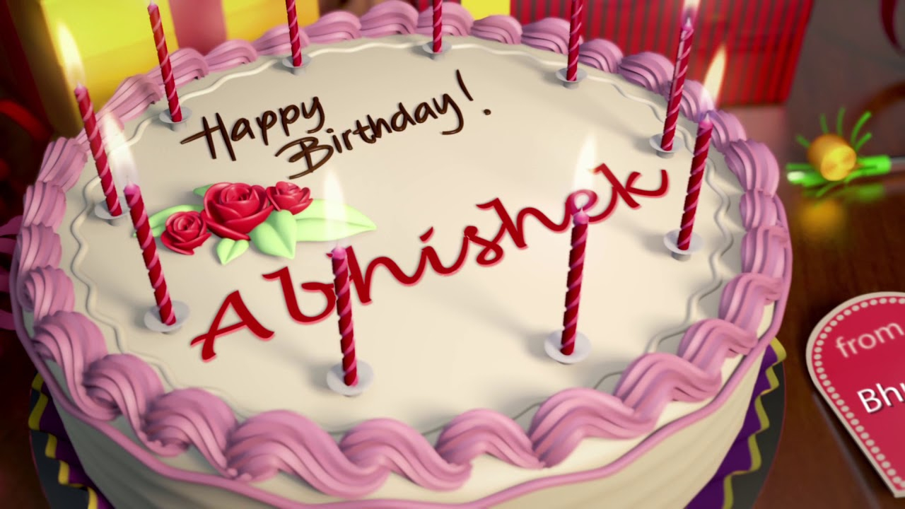 Happy Birthday Cakes With Name Cake Abhishek Naturallycurlye