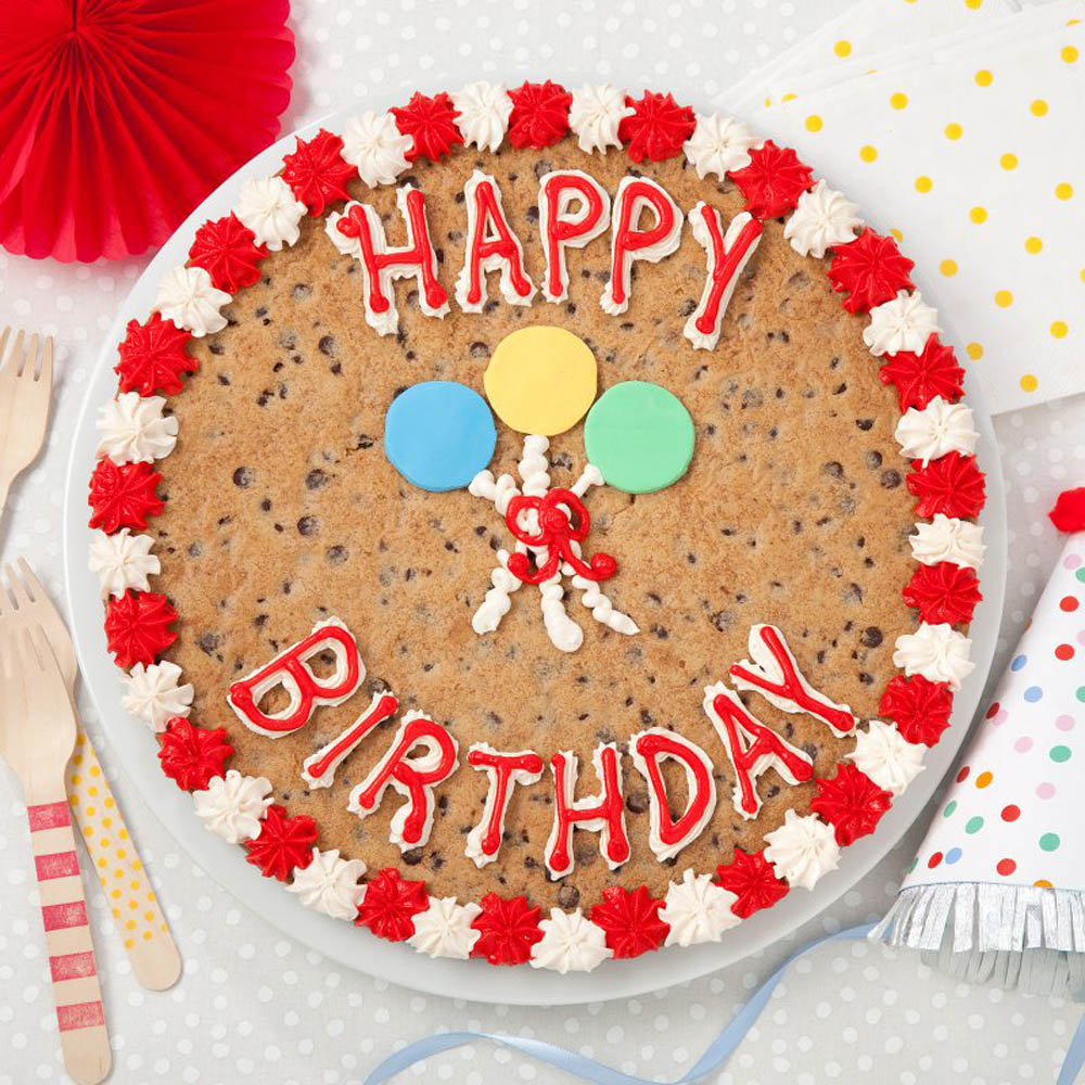 Happy Birthday Cookie Cake Mrs Fields Happy Birthday Balloons Cookie Cake The Grove At