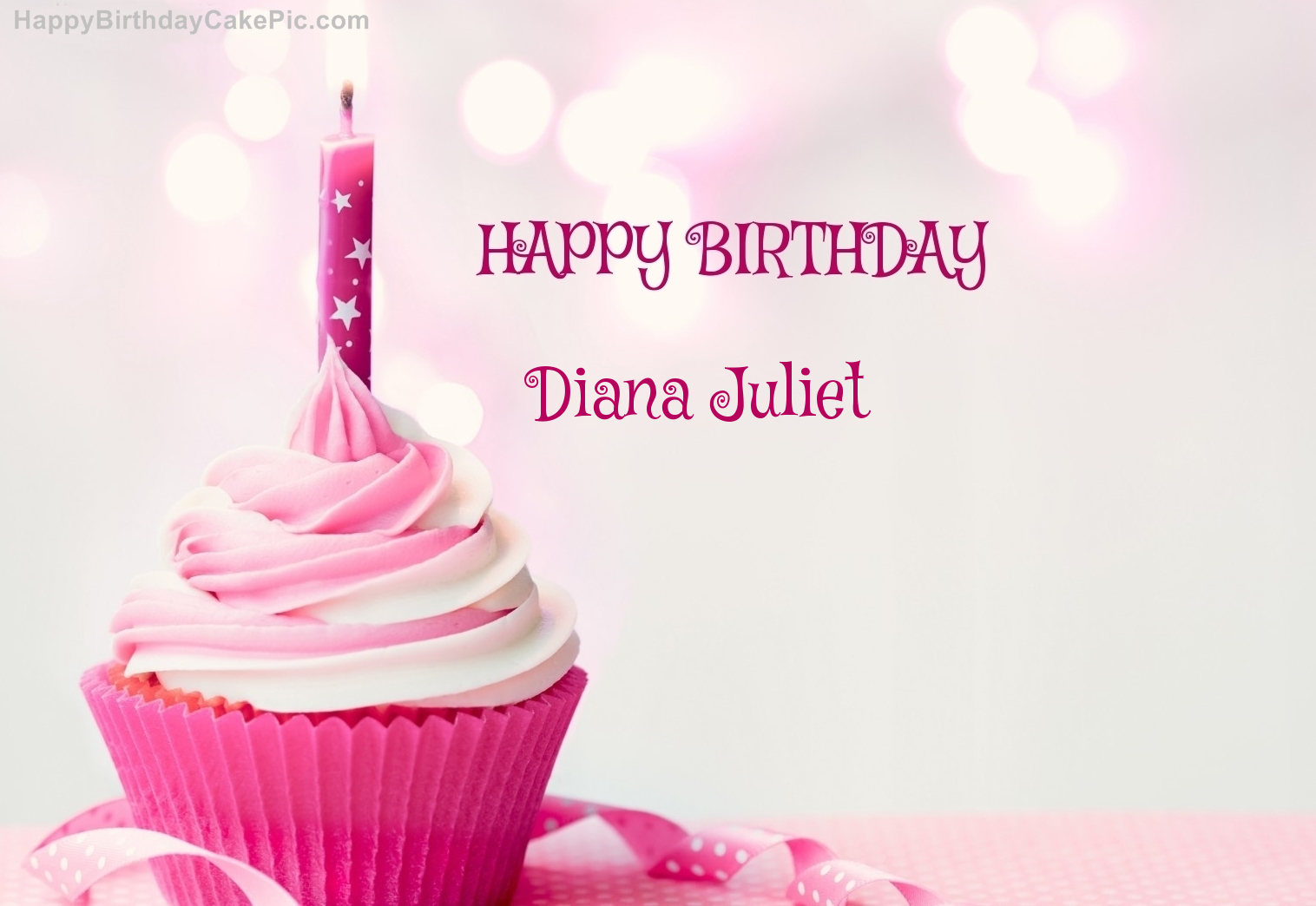 Happy Birthday Diana Cake Happy Birthday Cupcake Candle Pink Cake For Diana Juliet
