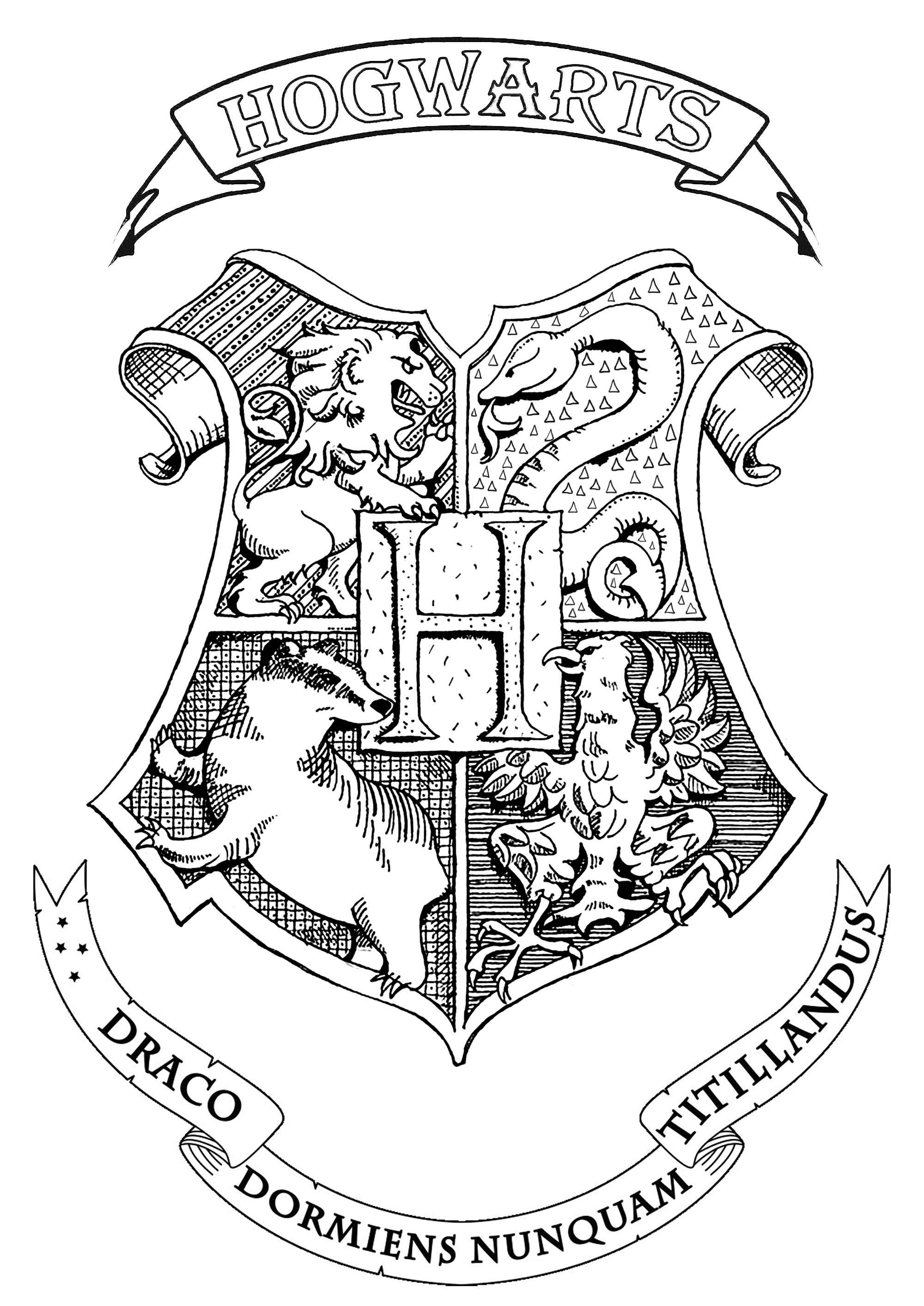 Harry Potter Coloring Pages Harry Potter Hogwarts Crest Books Adult Coloring Pages