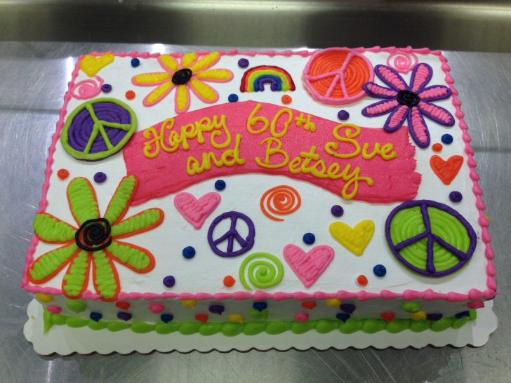 Hippie Birthday Cake Flower And Peace Signs Neon Hippie Cake Cakes I Made Cake Peace