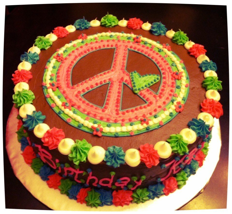 Hippie Birthday Cake Hippie Happy Birthday Google Search Cake Decorating Ideas