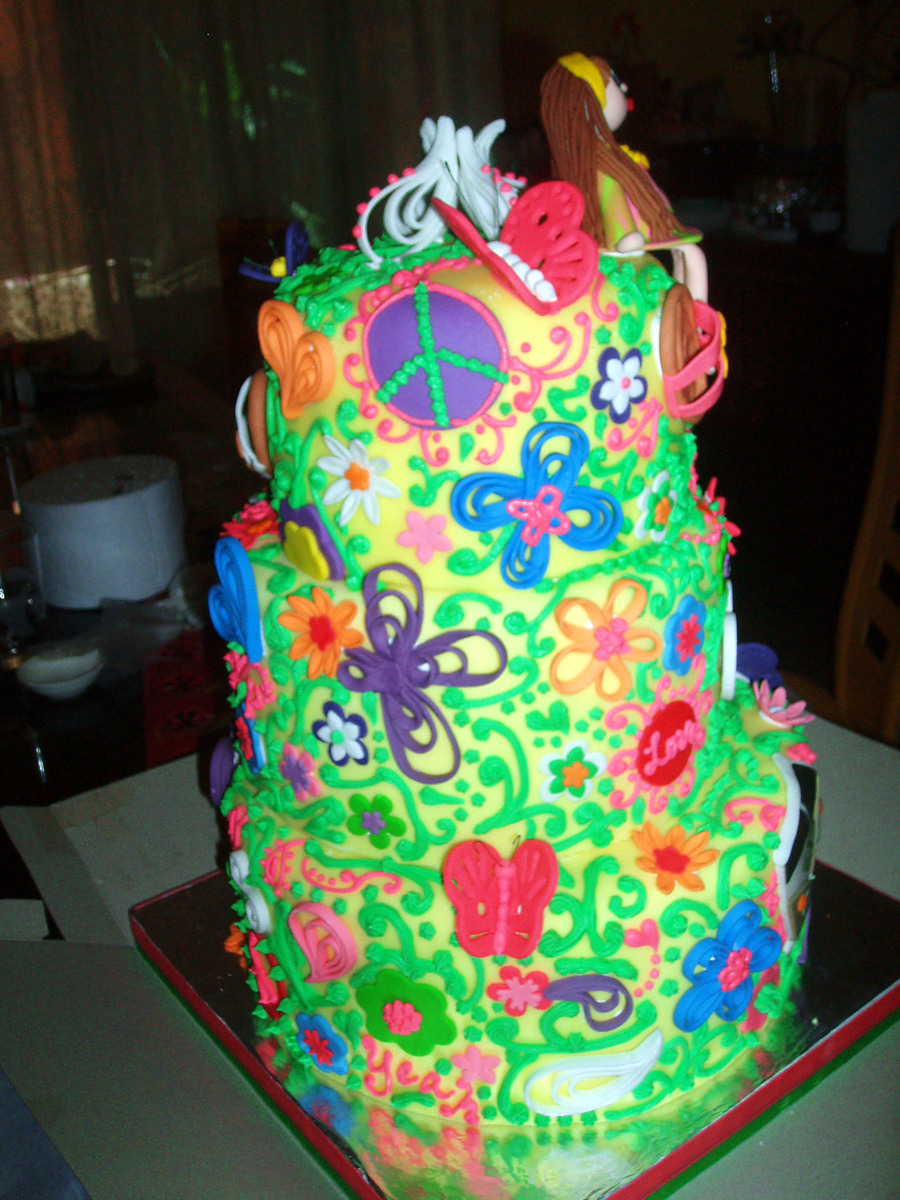 Hippie Birthday Cake Hippie Themed Birthday Cake Cakecentral