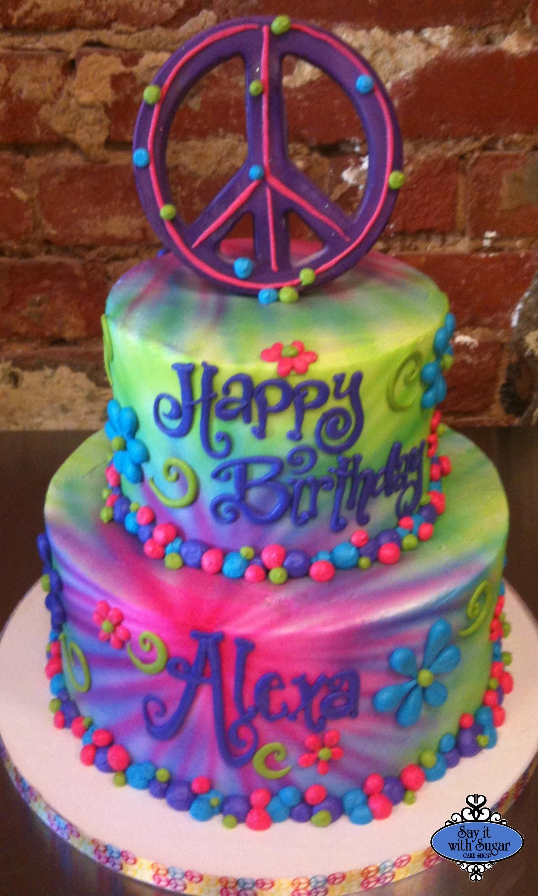 Hippie Birthday Cake Might Try Airbrush This Weekend Sugar Pinterest Cake