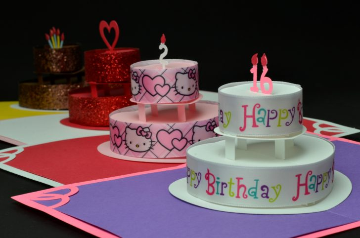 How To Make Birthday Cake Birthday Or Wedding Cake Pop Up Card Template Creative Pop Up Cards