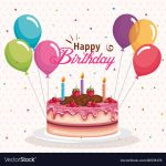 Images Of Happy Birthday Cake Happy Birthday Cake With Balloons Air Celebration Vector Image