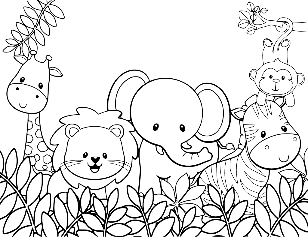Jungle Coloring Pages Coloring Pages Printable Jungle Animal Coloring Pages Cute