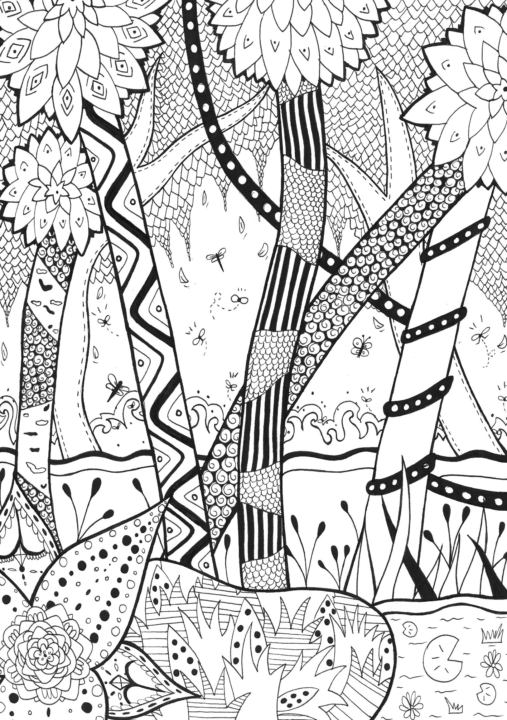 Jungle Coloring Pages Forest Rachel Jungle Forest Adult Coloring Pages