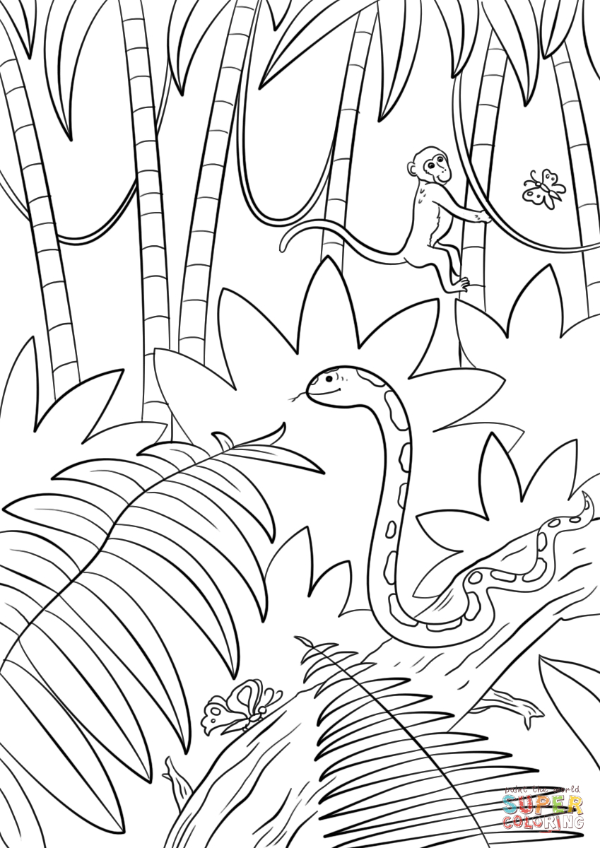 25+ Creative Photo of Jungle Coloring Pages