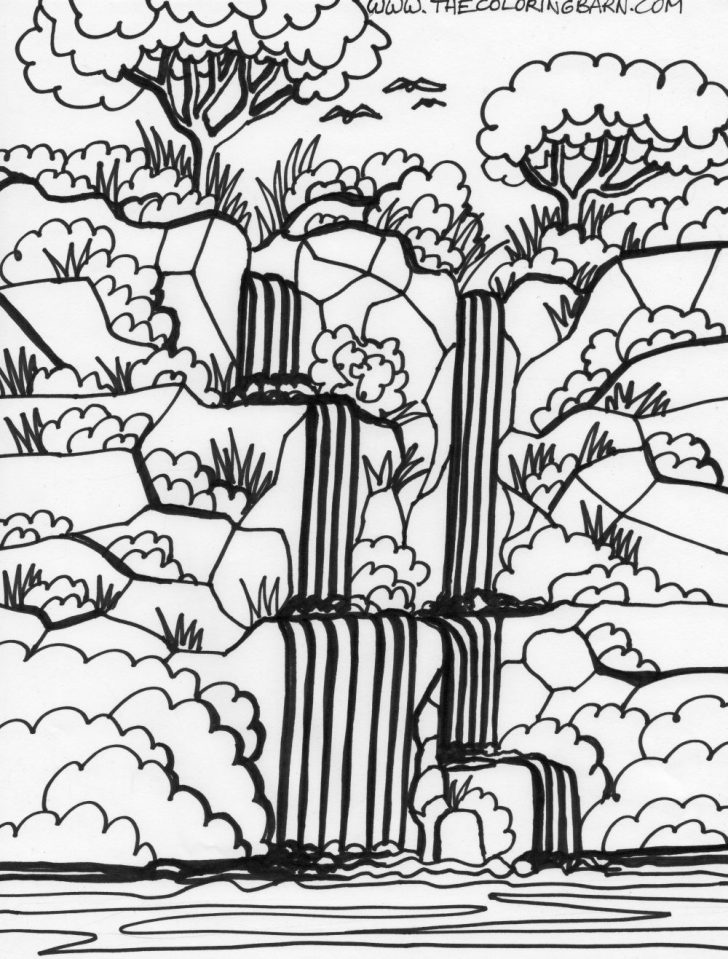 Jungle Coloring Pages Waterfall Jungle Coloring Pages Coloringsuite