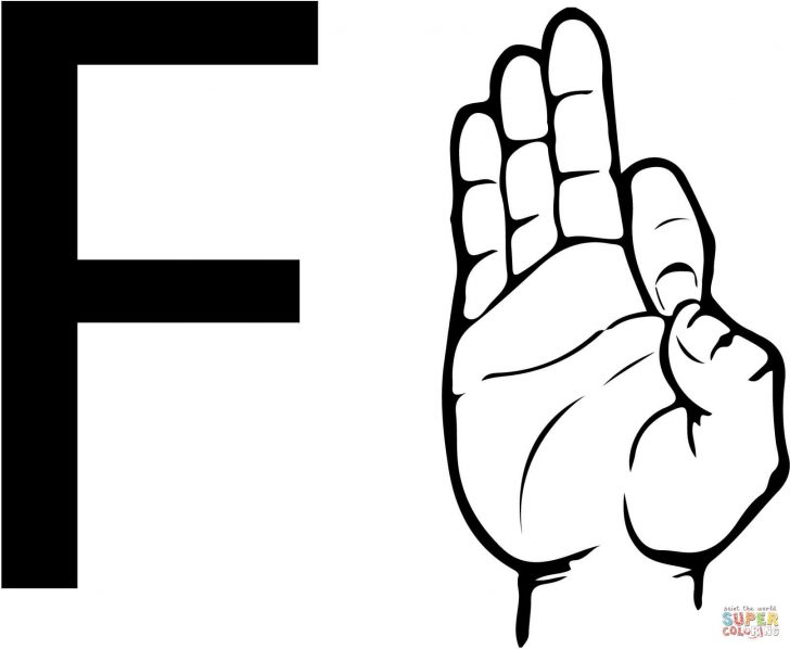 Letter F Coloring Page Asl Sign Language Letter F Coloring Page With Letter F Coloring Page
