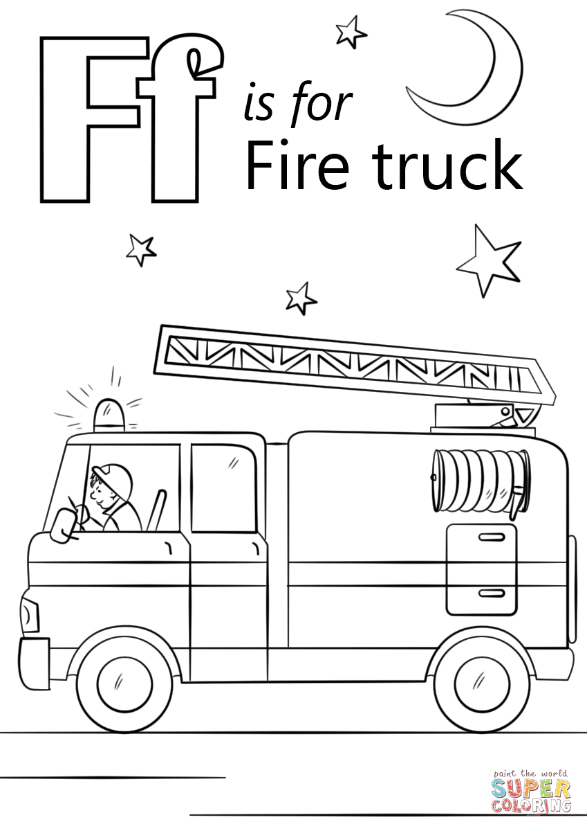 Letter F Coloring Page Letter F Is For Fire Truck Coloring Page Free Printable Coloring Pages