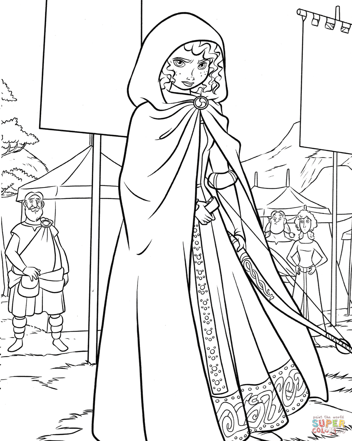 Merida Coloring Pages Princess Merida On A Highland Games Coloring Page Free Printable