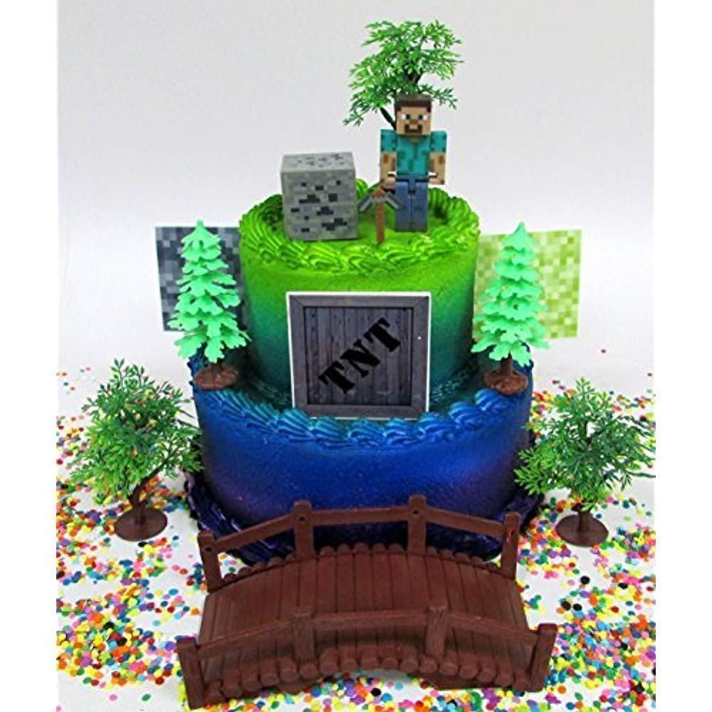 Minecraft Birthday Cake Toppers Cake Toppers Minecraft Birthday Set Featuring Steve And Themed