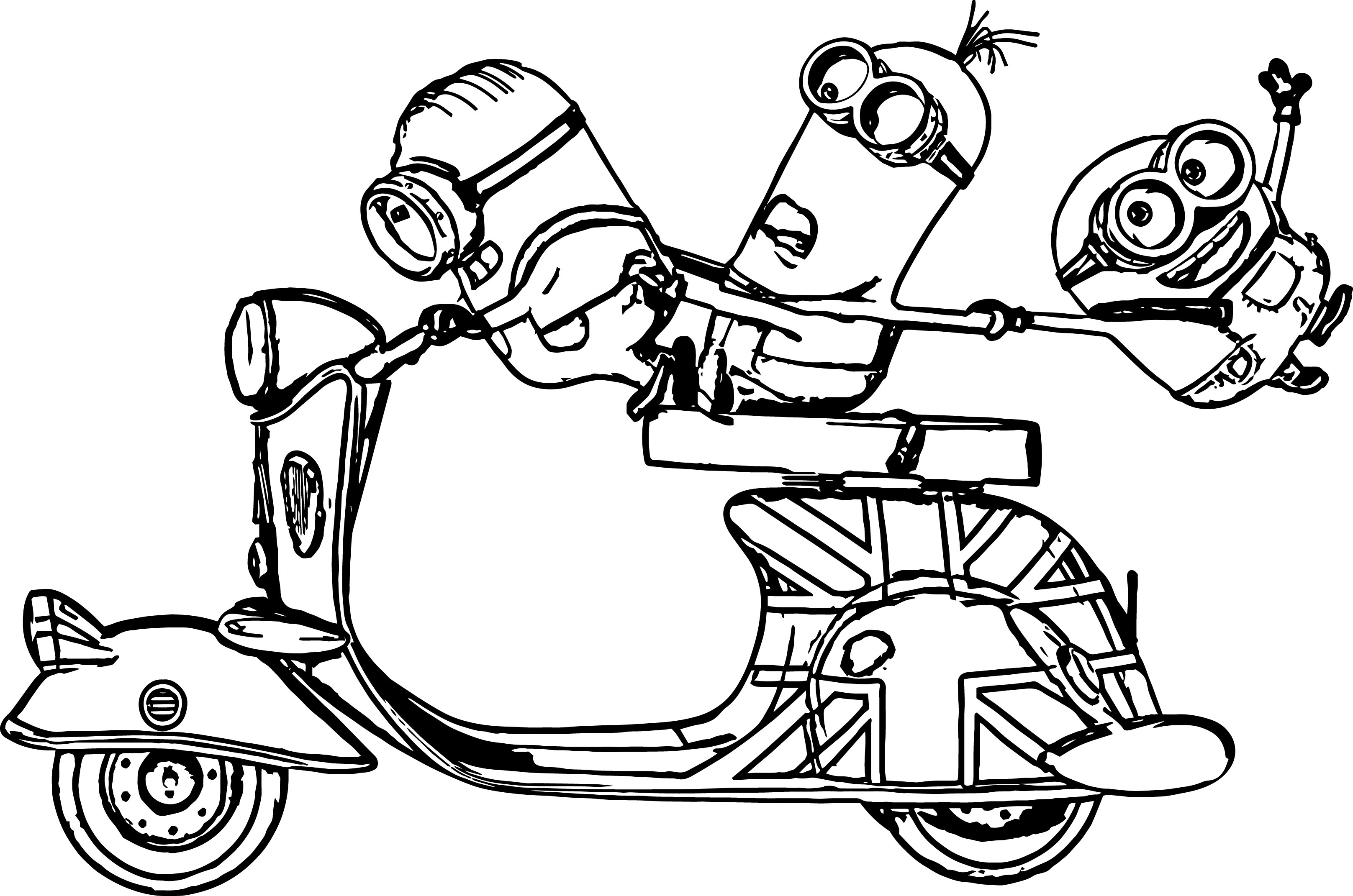 Minions Coloring Pages Minions Scooter Bob Kevin Stuart Despicable Me Coloring Page