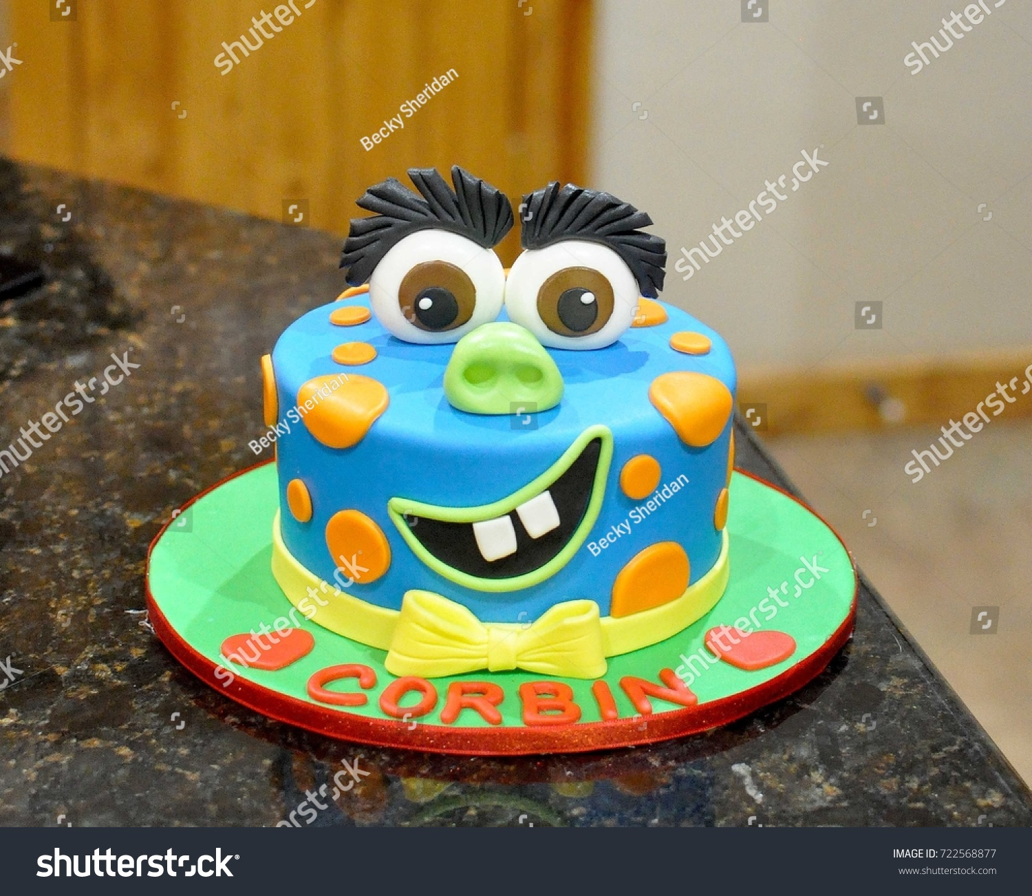 Monster Birthday Cake Custom Birthday Cake Fondant Monster Face Stockfoto Jetzt