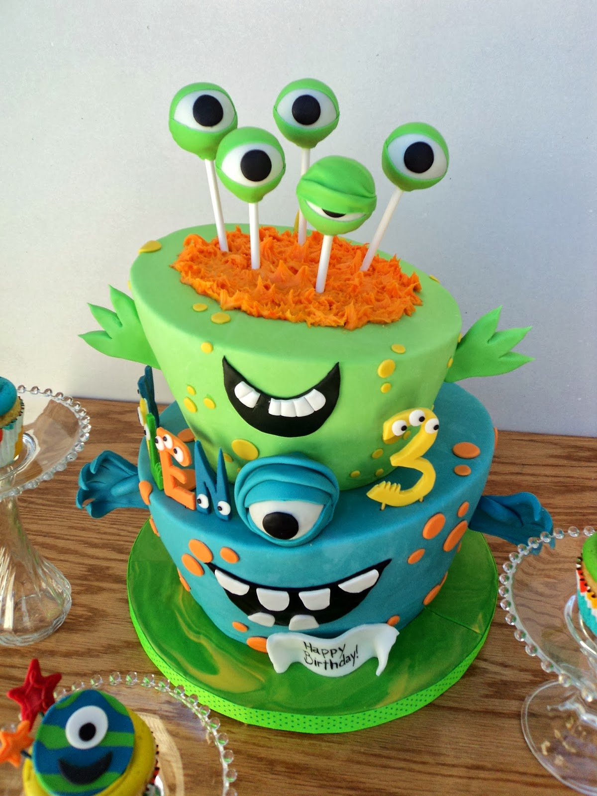 Monster Birthday Cake Delectable Cakes Little Monster Topsy Turvy Birthday Cake