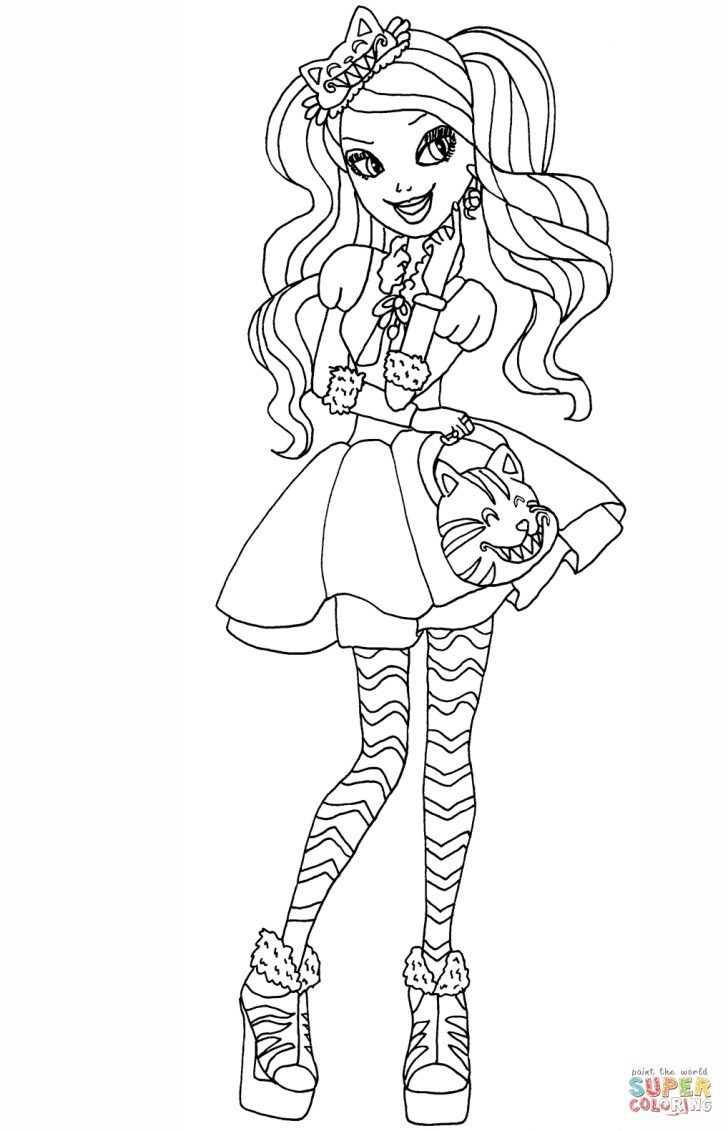 Monster High Coloring Page Ever After High Kitty Cheshire Coloring Page Free Printable