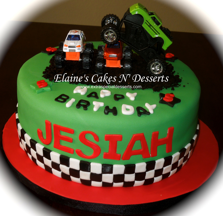 Monster Jam Birthday Cake Monster Trucks Birthday Cake Covered In Fondant Cakecentral