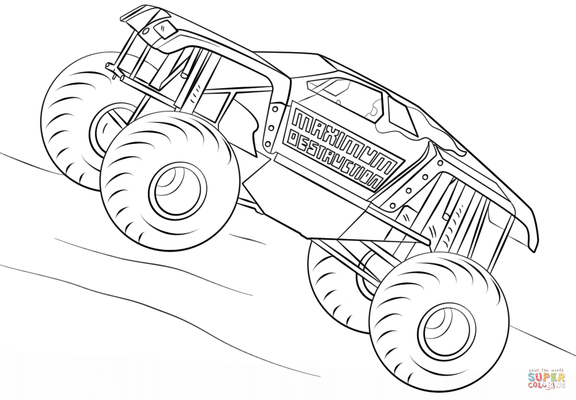 Monster Truck Coloring Page Maximum Destruction Monster Truck Coloring Page Free Printable