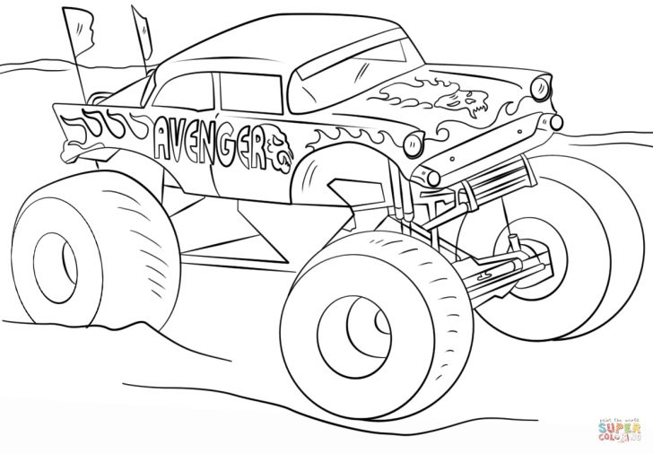 Monster Truck Coloring Pages Avenger Monster Truck Coloring Page Free Printable Coloring Pages
