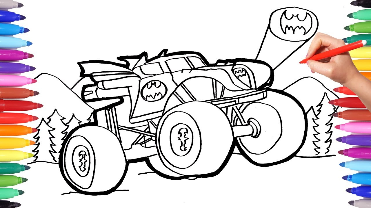 Monster Truck Coloring Pages Batman Monster Truck Coloring Pages Watch How To Draw Batman