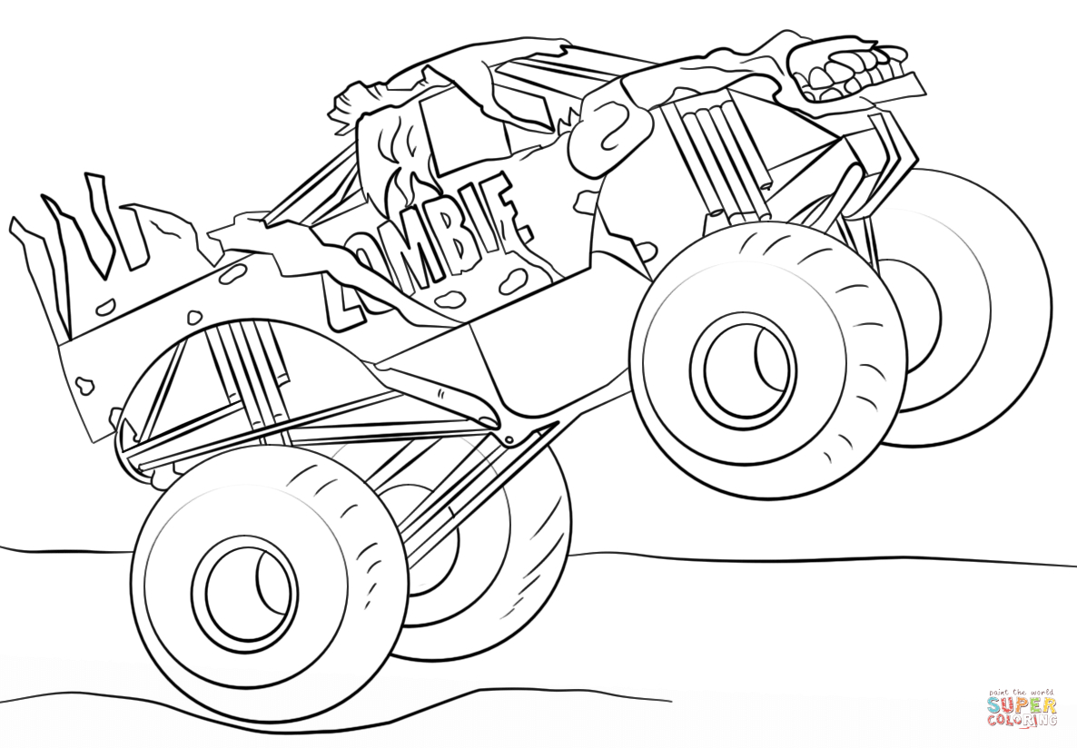Monster Truck Coloring Pages Zombie Monster Truck Coloring Page Free Printable Coloring Pages