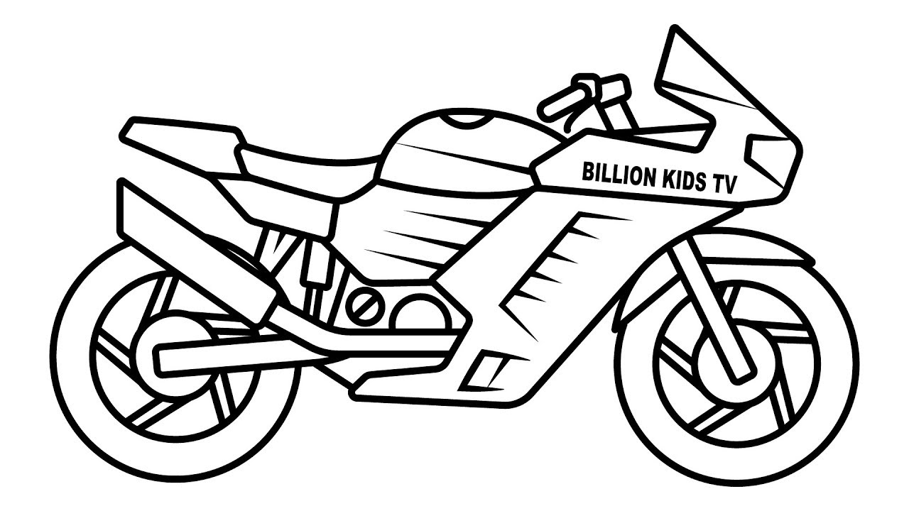 Motorcycle Coloring Pages Drawing Sport Bike Coloring For Kids Youtube