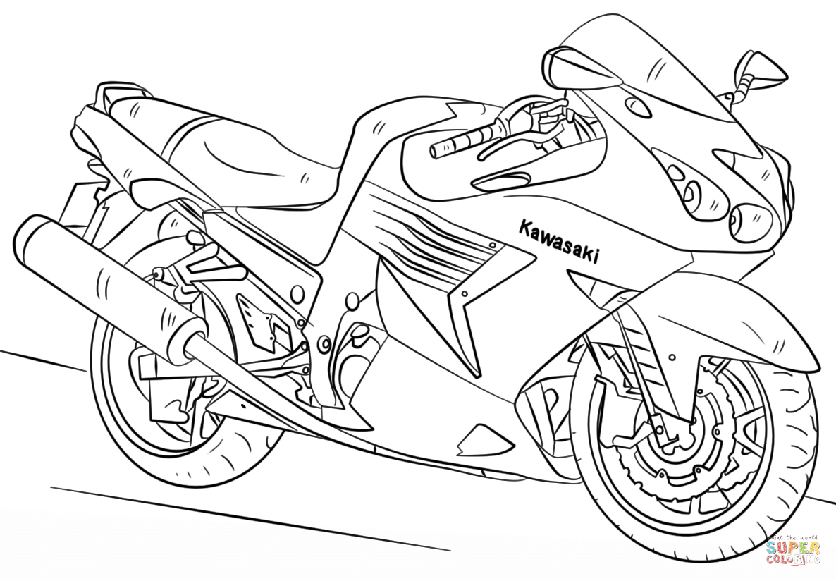 Motorcycle Coloring Pages Useful Motorcycle Coloring Sheets Kawasaki Page Free Printable Pages